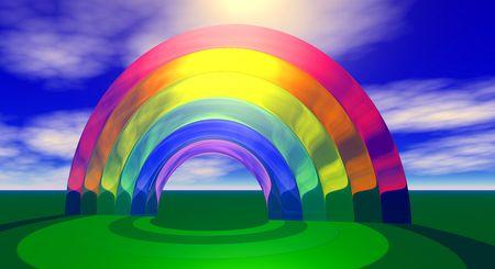 shinning: The sun shinning through a translucent rainbow.
