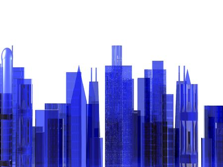 An illustration of a cityscape on a white background.