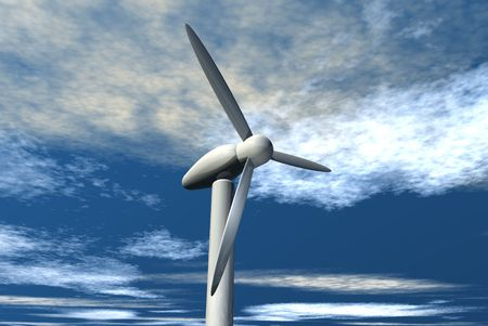 An illustration of wind mills catching the power of the wind.