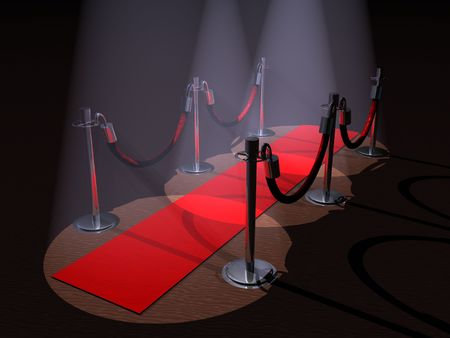 stanchion: A red carpet with stanchions and spot lights.