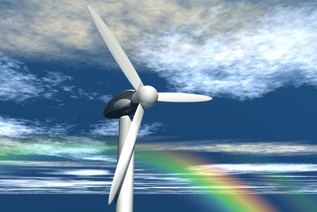 An illustration of wind power generators against a partly cloudy sky. Stock Photo