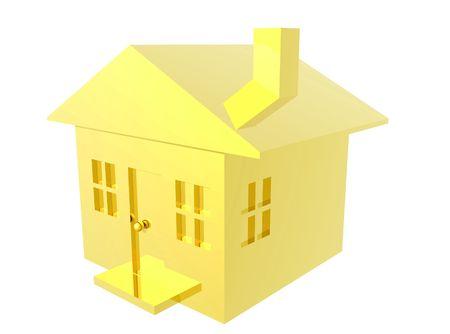A 3D render of a little Gold house.