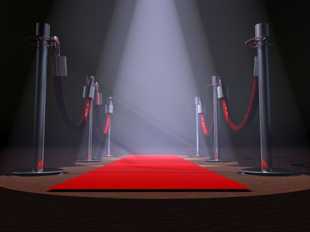 spot: A red carpet with stanchions and spot lights.