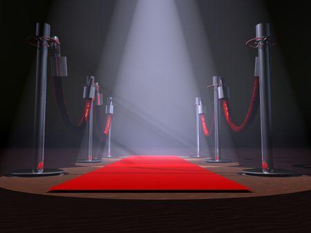 Een rode loper met stanchions en spot lichten.