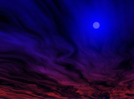 An illustration of a sun shining through an alien sky