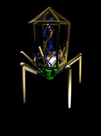 Een conceptueel beeld van een virus geïsoleerd op zwart.