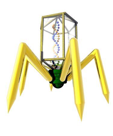 Een conceptueel beeld van een virus geïsoleerd op wit.