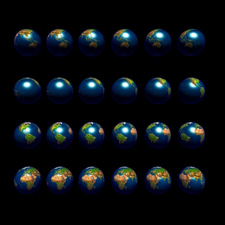 An image of multiple earths rotating in 15 degree increments and viewed from the equator.