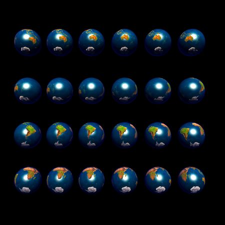 increments: An image of multiple earths rotating in 15 degree increments and viewed from a southerly latitude.