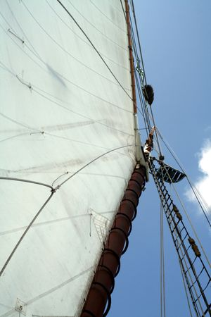 A view looking up the mast of a sailboat.