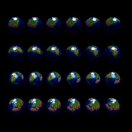 An image of multiple earths rotating in 15 degree increments and viewed from a northerly latitude.
