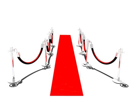 stanchion: A red carpet with stanchions and isolated on white Stock Photo