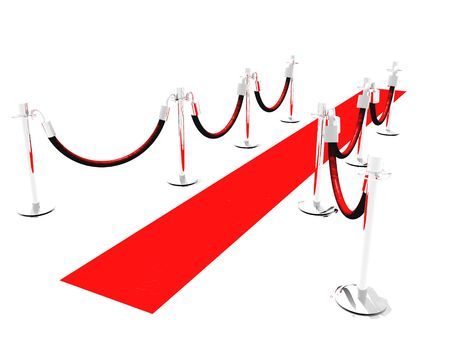A red carpet with stanchions and isolated on white Stock Photo