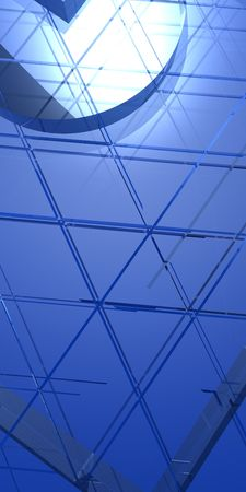 An illustration of a translucent triangles rendered diagonally in a soft blue color tone. Stock Photo