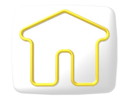 A poster of a gold outline of a home on a white button.