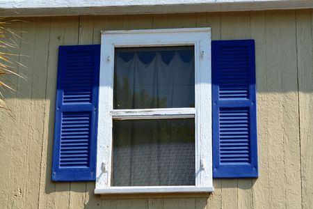An image of a windows with blue shutters