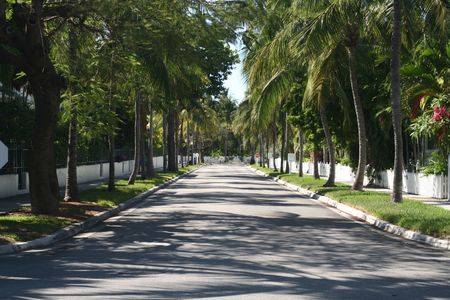 An empty white picket fence lined street in the Caribbean.