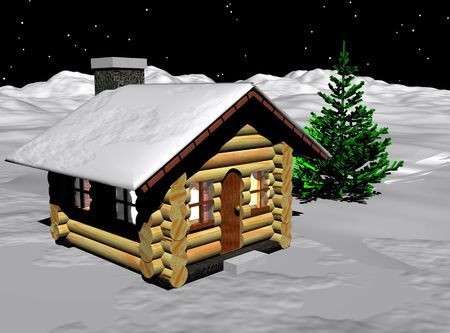 An image of a very humble log cabin on a snowy landscape.