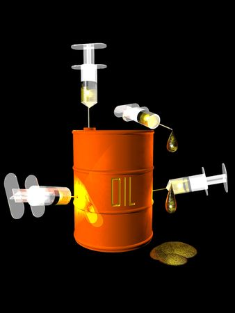 Conceptual image representing an addiction to oil.