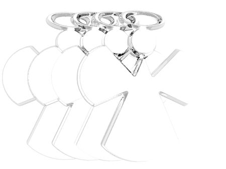 Angle figures composed of silver, isolated on a white background.