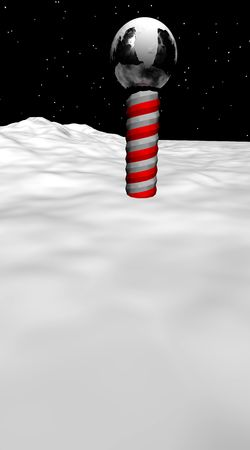 The North Pole on a field of snow under a star covered sky. 版權商用圖片