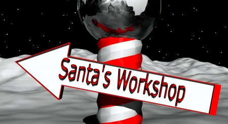 A North Pole marker with a arrow directing you to Santa�s Workshop photo