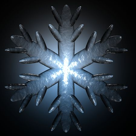 A detail of a snowflake with an icy appearance isolated on black with a blue halo.