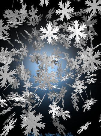中心の青い輝きと黒い背景に落ちる雪のイメージ。 写真素材