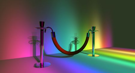 A pair of stanchion barriers lit up in rainbow lighting.