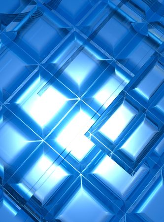 A background illustration of glowing blue squares in a random order.