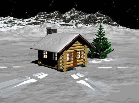A lone log home sitting on a blanket of snow with a Christmas tree. photo