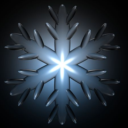 A close up illustration of a snow flake with a blue glowing background.