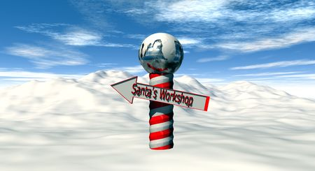 Illustration of the North Pole with directions to Santa�s workshop. Stock Photo