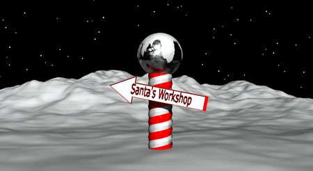 Illustration of the North Pole with directions to Santa's workshop.