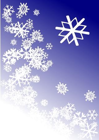 右と右上隅の大きな雪のフレークとイメージの下部に沿って雪の結晶から成るシーン。