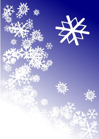 A scene consisting of snowflakes along the right and bottom of the image with a larger snow flake in the upper right corner.