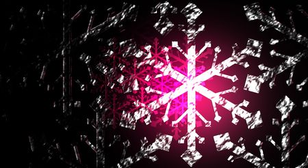 Icy snow flakes over a red, reflective background.