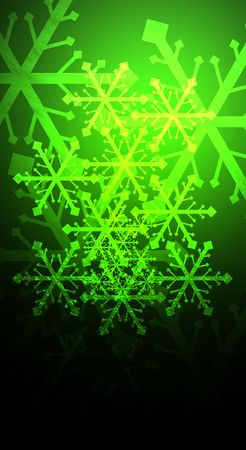 Icy snow flakes over a green, reflective background.