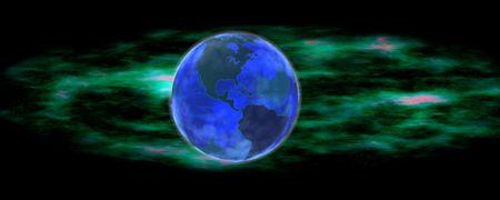 De aarde drijvend in de voorkant van een kosmische wolk