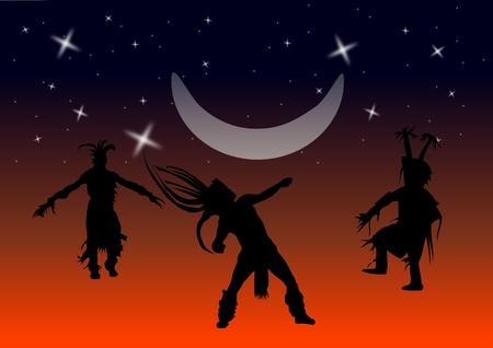 bailarines silueta: Un vector de imagen de Native American bailarines bailando bajo la luna en estrellas. Vectores