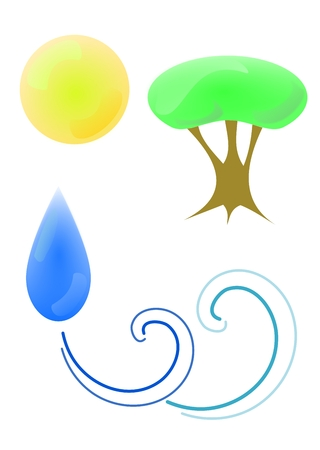 Vector illustration of environments symbols on a white background.