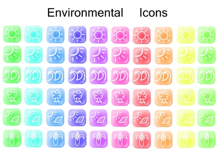 Vector illustration with environmental icons on a rainbow of buttons.