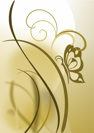 An abstract butterfly on grass in earth tones vector image. Иллюстрация