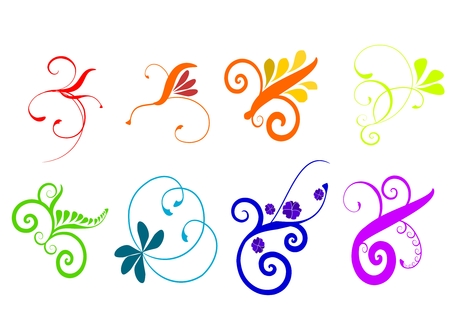 Colorful vector flourishes isolated on a white background.