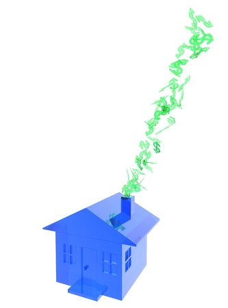 This is a conceptual image of the value of a home going up in smoke.