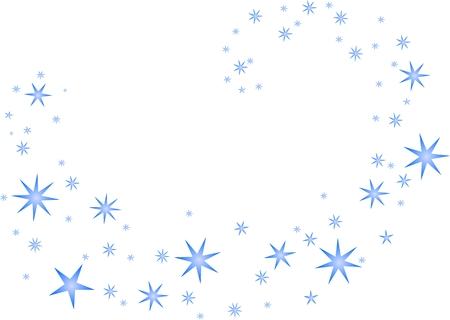 Blue stars swirling on a white background Illustration