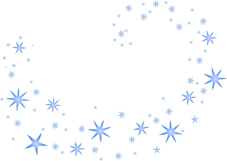 Blue stars swirling on a white background Ilustração