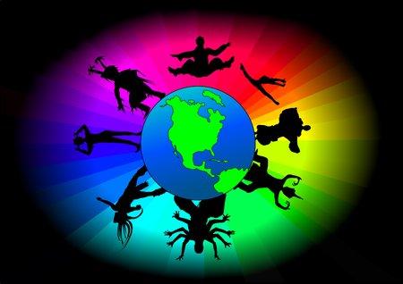surrounded: La terra circondato a colori e ballerini di diversa origine etnica Vettoriali