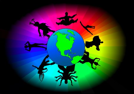 aboriginal woman: The earth surrounded in color and dancers of different ethnic backgrounds