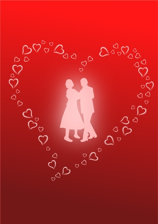Vector image of a glowing silhouette of two lovers dancing.